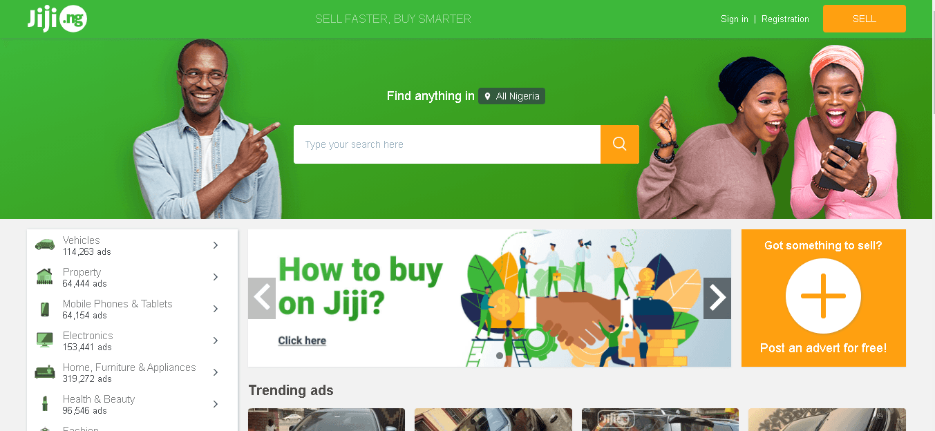 Follow these steps to open Jiji account as seller or buyer